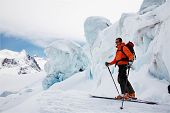Freerider Guide in the Schwarztor Glacier; in background the highest peaks of Monte Rosa (4664 mt).