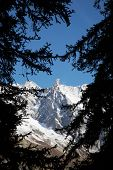 The famous sharp pinnacle of the Dent du Geant, Mont Blanc Massif, Courmayeur, Italy. Wiki: http://e