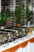 chafing dish heaters at the banquet table