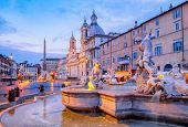View Of Piazza Navona And Fountain Before Sunrise, Rome poster