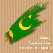 Cocos Islands Independence Day Patriotic Design. Expressive Brush Stroke In National Flag Colors On poster