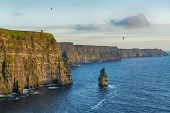 Epic Views From The Cliffs Of Moher In County Clare Ireland. Irelands Number 1 Tourist Attraction.  poster