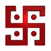 stock photo of swastika  - Ruby swastika symbol isolated on the white - JPG