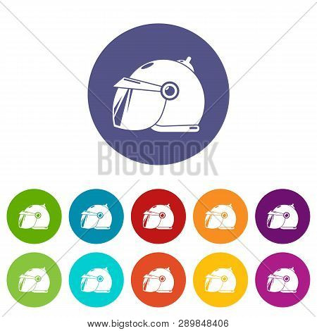 Motorcycle Helmet Scooter Icons Color