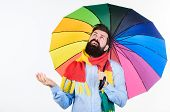 Man Bearded Hipster Hold Colorful Umbrella. It Seems To Be Raining. Rainy Days Can Be Tough To Get T poster