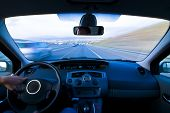 stock photo of speedo  - Inside car view at high speed - JPG