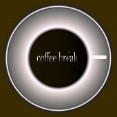 Cup With Coffee Illustration. Coffee Break Inscription. Coffee Vector. Mug On The Table. White Mug W poster