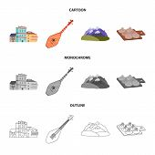 Vector Design Of Culture And Sightseeing Logo. Set Of Culture And Originality Vector Icon For Stock. poster