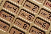 Closeup of a cell phone keypad. Very clear and precisely focused.