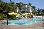 Poolside at the Four Seasons Aviara resort in Carlsbad, near San Diego, California.