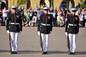 Standing At Attention - Members of the United States Marine Corps Silent Drill Team perform at a cer