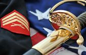 Celebrating America's Marine Corps - sabre, sergeants uniform, and sabre