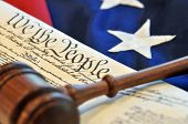 Constitutional rights - gavel, flag, and US document