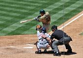 June 22nd, 2008 - San Diego Padres centerfielder Jody Gerut hitting during a game versus the Detroit