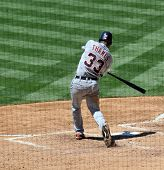 June 22nd, 2008 - Detroit Tigers Marcus Thames hits a home run  during a game versus the San Diego P