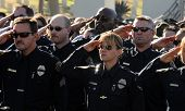 SAN DIEGO, CA - OCTOBER 29, 2008: Members of the San Diego Police Department salute during a ceremon