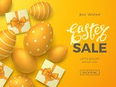 Stylish Easter Sale Banner With Text, 3d Realistic Eggs And Gift Boxes With Bows On Orange Backgroun poster