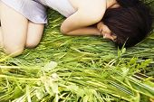 picture of country girl  - Beautiful girl sleeping over the grass - JPG