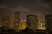 San Diego California at Night - skyline of downtown from Coronado Island.
