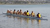 SAN DIEGO, CALIFORNIA - MARCH 27: Crew members in the boat at the 37th Annual San Diego Crew Classic