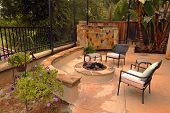 Backyard Firepit and Waterfall