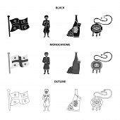 Vector Illustration Of Culture And Sightseeing Symbol. Set Of Culture And Originality Vector Icon Fo poster