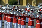 SAN DIEGO, CALIFORNIA - MARCH 12: The United States Marine Corps Marching Band performs for the publ