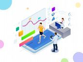 Isometric Running On A Treadmill And Fitness Bracelet Or Tracker Isolated On White. Man Running On A poster