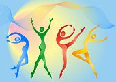 Abstract silhouette of different color gymnasts