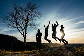 Friends Have Fun At Sunset. Funny Friends. A Group Of People In Nature. Silhouettes Of Friends. Best poster