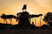 Garibaldi Equestrian Monument, Beautiful Evening Sunset. Janiculum Hill, Rome, Italy. Golden Evening poster