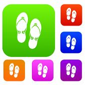 Flip Flop Sandals Set Icon In Different Colors Isolated Illustration. Premium Collection poster