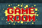 Red Pixel Retro Game Room Button For Video Games, Web Design. On Yellow Background With Square. Vect poster