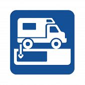 Dumping Station For Recreational Vehicle Symbol With A White Background poster