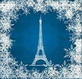 在蓝色针织背景雪花矢量埃菲尔铁塔