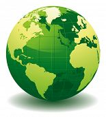 Green World globe - editable vector illustration