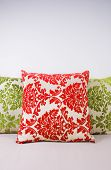 Combination of red and green pillows