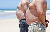 picture of fat-guts  - Two obesely fat men showing their bellies on the beach - JPG