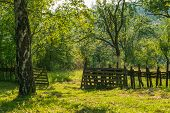 Countryside Nature Landscape. Old Fence In Countryside Landscape. Old Fence In Countryside Nature La poster
