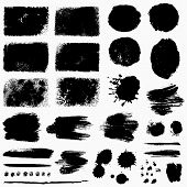 Paint Brush Strokes, Grunge Stains And Ink Blots Isolated On White Background. Black Vector Design E poster