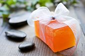 Spa scene with handmade glycerin soap - intentional low light and shallow depth of field\