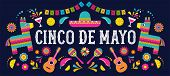 Cinco De Mayo - May 5, Federal Holiday In Mexico. Fiesta Banner And Poster Design With Flags, Flower poster