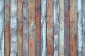 Wooden Wall Texture, Old Painted Multicolored Wood Boards. Weathered Panels With Nails And Knots For poster