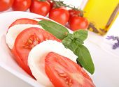 caprese salad, tomato, mozzarella and basil