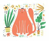 King Cat Flat Hand Drawn Vector Illustration. Cute And Playful Kitten With Interior Houseplants Clip poster