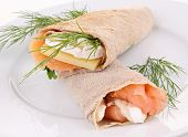 buckwheat crepe with salmon,cheese and dill