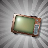 Retro TV with antenna  illustration