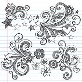 Hand-Drawn Back to School Stars and Flowers Sketchy Notebook Doodles Vector Illustration Design Elements on Lined Sketchbook Paper Background