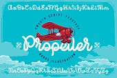 Set Of Smooth Script Font Named propeller With Red Vector Airplane Illustration And Blue Clouds Ba poster