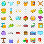 Good House Icons Set. Cartoon Style Of 36 Good House Vector Icons For Web For Any Design poster